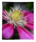 Clematis In Pink Fleece Blanket