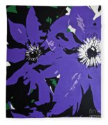 Clematis Jackmanii Fleece Blanket