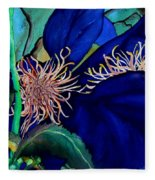 Clematis Regal In Purple And Blue Sold Fleece Blanket