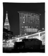 Cleveland Black And White Panoramic Fleece Blanket