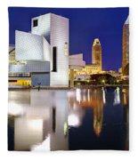 Cleveland Skyline At Dusk Fleece Blanket