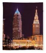 Cleveland Skyline Night Color - Downtown Buildings Fleece Blanket