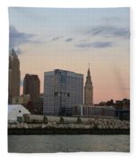 Cleveland Skyline And Port On The Cuyahoga River Fleece Blanket