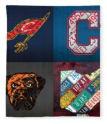 Cleveland Sports Fan Recycled Vintage Ohio License Plate Art Cavaliers Indians Browns And State Map Fleece Blanket