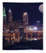 Cleveland With Full Moon Fleece Blanket