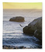 Cliff Jumping To Surf Fleece Blanket
