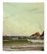 Cliffs At Cape Elizabeth Fleece Blanket