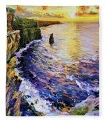 Cliffs Of Moher At Sunset Fleece Blanket
