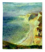 Cliffs On The Coast Near Pourville 1879 Fleece Blanket