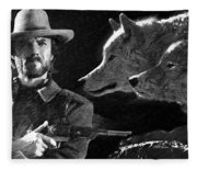 Clint Eastwood With Wolves Fleece Blanket
