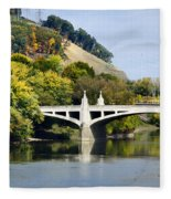 Clinton St. Bridge Prospect Mountain Binghamton Ny Fleece Blanket