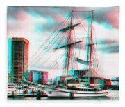 Clipper City - Use Red-cyan 3d Glasses Fleece Blanket
