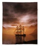 Clipper Ship At Sunset Fleece Blanket