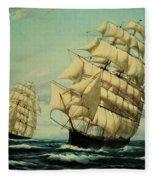Clipper Ships Racing To Port Fleece Blanket