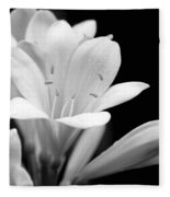 Clivia Flowers Black And White Fleece Blanket