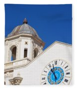 Clock And Tower Fleece Blanket