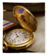 Clockmaker - Time Never Waits  Fleece Blanket