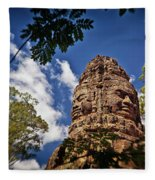 Cloning Out Tourists At Ta Prohm Temple, Angkor Archaeological Park, Siem Reap Province, Cambodia Fleece Blanket