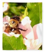 Close Up Bumble Bee Climbing Out Of Hibiscus Flower Fleece Blanket