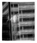 Close Up Of Black And White Glass Building Fleece Blanket
