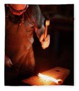 Close-up Of  Blacksmith Forging Hot Iron Fleece Blanket