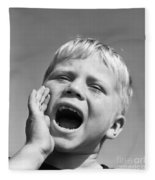 Close-up Of Boy Shouting, C.1950s Fleece Blanket