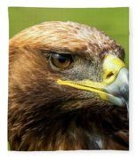 Close-up Of Golden Eagle With Turned Head Fleece Blanket