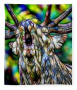Close Up Of Huge Male Elk Bugling Fleece Blanket