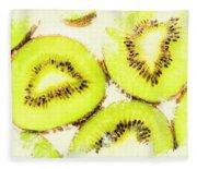 Close Up Of Kiwi Slices Fleece Blanket