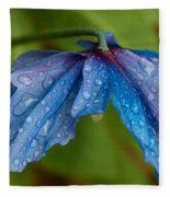 Close-up Of Raindrops On Blue Flowers Fleece Blanket