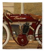 close up of red Indian motorcycle   # Fleece Blanket