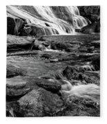 Close Up Of Reedy Falls In South Carolina B W Fleece Blanket
