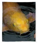 Close Up Of Single Large Yellow Koi Fish With Whiskers Fleece Blanket