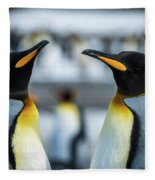 Close-up Of Two King Penguins In Colony Fleece Blanket