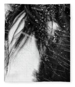 Close Up Portrait Of A Horse In Falling Snow Fleece Blanket