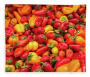 Close Up View Of Small Bell Peppers Of Various Colors Fleece Blanket