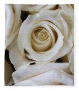 Close Up White Roses Fleece Blanket