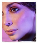 Closeup Beauty Portrait Of Woman Face In Colored Purple Light Fleece Blanket