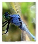 Closeup Of Blue Dragonfly Fleece Blanket
