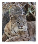 Closeup Of Bobcat Fleece Blanket