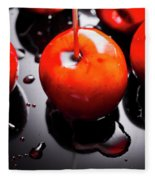 Closeup Of Red Candy Apple On Stick Fleece Blanket