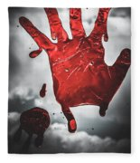 Closeup Of Scary Bloody Hand Print On Glass Fleece Blanket