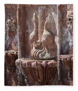 Closeup Of Terracotta Water Fountain In Full Color La Quinta Art District Photograph Fleece Blanket