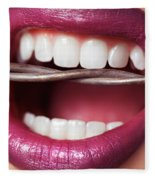 Closeup Of Woman's Mouth Biting On Barbed Wire Fleece Blanket