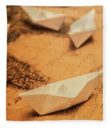 Closeup Toned Image Of Paper Boats On World Map Fleece Blanket