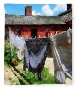 Clothes Hanging On Line Closeup Fleece Blanket