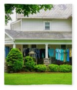 Clothes On The Front Porch Fleece Blanket