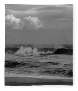 Cloud And Wave Black And White Seaside New Jersey  Fleece Blanket