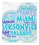Cloud Illustrated With Cities Of Florida State Fleece Blanket