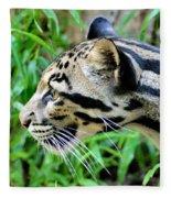 Clouded Leopard In The Grass Fleece Blanket
